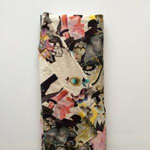 Stof tricot bijzonder grote print bloemen paisley