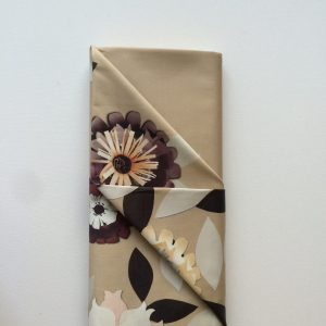 Stof stretch katoen bloemen grafisch zand beige bruin