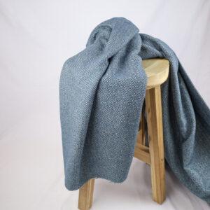 Visgraat Wol Blauw Ecru
